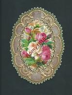 Mignonnette Ovale Avec Collage Et Relief, Bords En Dentelle Dorés à L'or Fin.. Voeux Envoyés En 1878. 2 Scans - Collections