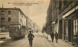 #200619E - 42 SAINT CHAMOND Place De Plaisance Et Cours Adrien De Montgolfier - Tramway Pub THIERY & Cie Commerce BONNET - Saint Chamond
