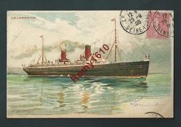 """Bateaux. Paquebot  """"La Lorraine"""", Voyagé En 1906. Illustration  Signée. Lessieux.  2 Scans - Paquebots"""