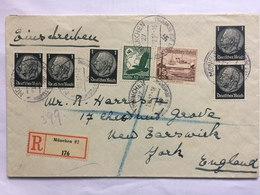GERMANY 1937 Registered Munchen Cover To York England - Alemania