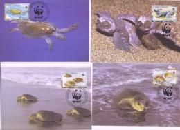 WWF - ST THOMAS  & PRINCE ISLANDS - 2001-  WWF  OLIVE RIDLEY TURTLES  SET  OF 4 MAXI CARDS, - Maximum Cards