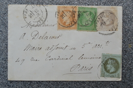 Lettre 1870' Oblitération VERSAILLES 4 Timbres NAPOLEON III 1 C - 4 C - 5 C - 10 C Empire Français - France