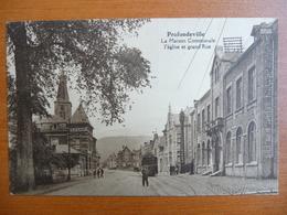 CPA - Profondeville - La Maison Communale - L'église Et Grand'Rue - Tramway - Profondeville