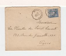 Sur Env. Cachet Ambulant Macon à Genéve 1899 Sur Type Sage 15 C. C. Paris Distribution. C.Bourg En Bresse Gare. (2402x) - Railway Post