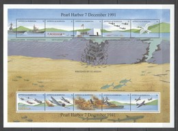 K1217 ANTIGUA & BARBUDA MILITARY & WAR AVIATION PEARL HARBOR #1571-80 !!! MICHEL 20 EURO !!! 1SH MNH - WW2 (II Guerra Mundial)