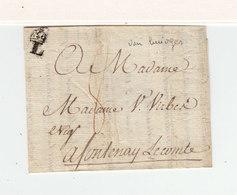 Sur Partie De Lettre Pour Fontenay Le Comte Marque L. Limoge. Taxe Manuscrite 8. (2404x)2404 - Marcophilie (Lettres)