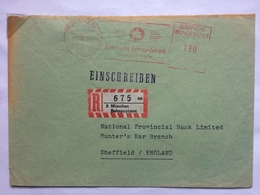 GERMANY Bundespost Registered Railway Post Munchen Bahnpostamt To Sheffield England - BRD
