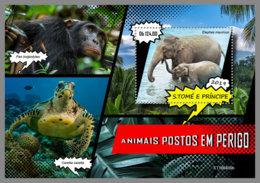 SAO TOME 2019 MNH Turtle Schildköte Tortue Endangered Species S/S - OFFICIAL ISSUE - DH1925 - Schildpadden
