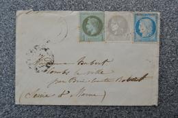 Lettre 1871 Affranchissement Cérès Bordeaux 4 C ND - Napoléon III 1 C - Cérès Paris 20 C - Ambulant Paris Montargis - 1870 Emisión De Bordeaux