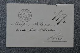 Lettre 11 Août 1870 Oblitération Armée Du Rhin 7° Corps - Etoile - Au Dos Tampon Bleu Général De Division DOUAY - Guerre - France