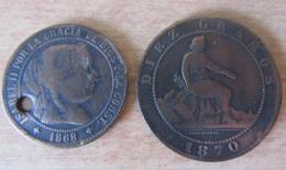 Espagne - 2 Monnaies Dont 2 1/2 Centimos 1868 OM Et Diez Centimos 1870 OM - Colecciones