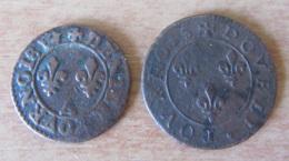 France - 2 Monnaies Henri III, Denier Et Double Tournois - Non-datés - Atelier Paris - 1574-1589 Henri III