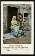Ref 1309 - Early Ethnic Postcard - Woman & Spinning Wheel Scotland - Embroidery Sewing - Europe
