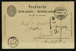 Ref 1309 - 1898 Switzerland Postal Stationery Card To Probus Cornwall UK - Postage Due - Stamped Stationery