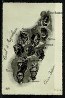 Ref 1309 - Early Ethnic Map Postcard - Types De Madagascar - Ex France Colony - Madagascar