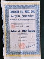 COMPAGNIE DES MINES D'OR DE LA GUYANE FRANCAISE 1926 - Mines