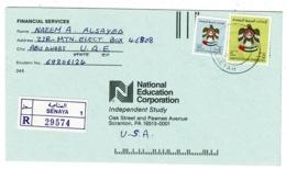 Ref 1309 - 1989 Registered Cover - Senaya Abu Dhabi United Arab Emirates 5d.50f Rate To USA - Abu Dhabi