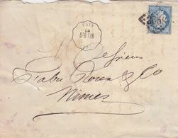 N° 60A 20c Bleu Sur Lettre De Tain ( Convoyeur Station) Le 12 Oct 72 (GC 2659 Nîmes) Pour Nîmes - 1849-1876: Période Classique