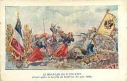 #200619F - MILITARIA GUERRE Drapeau 2e Zouaves Décoré Après La Bataille De Solférino 24 Juin 1859 - Other Wars