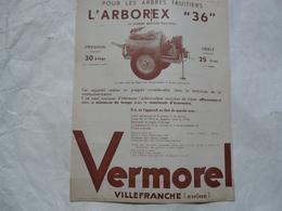 """VIEUX PAPIERS 69 VILLEFRANCHE PROSPECTUS : VERMOREL - Pour Les Arbres Fruitiers L'ARBOREX """"36"""" - Publicités"""