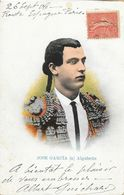 Tauromachie - Portrait De Jose Garcia A Algabeño - Carte Colorisée Dos Simple Samsot Y Missé - Personalità Sportive