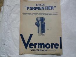 """VIEUX PAPIERS 69 VILLEFRANCHE PROSPECTUS : VERMOREL - Grille """"PARMENTIER"""" Pour Lutter Contre Le Doryphore - Publicités"""