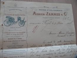 Facture Illustrée Adrien Jammes Manufacture Voitures Revel Haute Garonne 1907 - Transport
