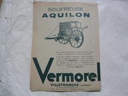 VIEUX PAPIERS 69 VILLEFRANCHE PROSPECTUS : VERMOREL - Soufreuse AQUILON - Publicités