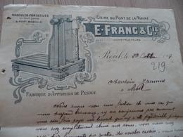 Facture Illustrée Revel Haute Garonne 1907 E.Franc Bascules Portatives - Other