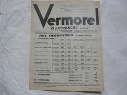 VIEUX PAPIERS 69 VILLEFRANCHE PROSPECTUS : VERMOREL - Prix Confidentiels (saison 1938-1939) - Publicités