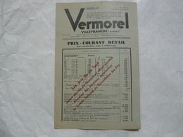 VIEUX PAPIERS 69 VILLEFRANCHE : VERMOREL - Prix - Courant Détail Pour Marchandises Prises à Villefranche - Publicités