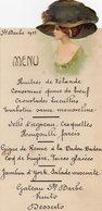 Charleroi:menu De La Ste Barbe 1911,décorée D'une Tête De Femme Avec Chapeau!!!très Jolie - Menus