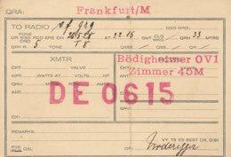 R 415 / CARTE RADIO AMATEURS  DEUTSCHE   FRANKFURT/M   D E   0 615 - Radio Amateur