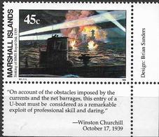 """1989 Marshall Islands Mi. 245 **MNH Geschichte Des Zweiten Weltkrieges : Versenkung Der HMS """"Royal Oak - Marshall"""