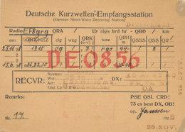 R 421 / CARTE RADIO AMATEURS  DEUTSCHE    D E  0 856 - Radio Amateur