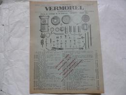 """VIEUX PAPIERS 69 VILLEFRANCHE - PROSPECTUS Avec Tarifs : VERMOREL - Pièces De Rechange De La Soufreuse """"BLUETTE"""" - Publicités"""