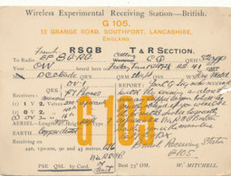 R 434 / CARTE RADIO AMATEURS   BRITISH   ENGLAND  G  1 0 5 - Radio Amateur