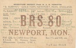R 435 / CARTE RADIO AMATEURS   BRITISH   ENGLAND   B R S 8 0 NEWPORT MON - Radio Amateur
