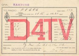 R 438 / CARTE RADIO AMATEURS   HAMBURG  D  4  T V - Radio Amateur