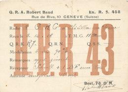 R 442 / CARTE RADIO AMATEURS      GENEVE  H B R 4 3 - Radio Amateur
