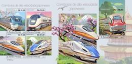 Z08 ST190411ab Sao Tome And Principe 2019 Japanese Speed Trains MNH ** Postfrisch - São Tomé Und Príncipe