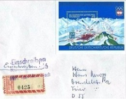 DDR - BUSTA FDC  FOGLIETTO GIOCHI OLIMPICI DI INNSBRUCK  -RACCOMANDATA - Winter 1976: Innsbruck