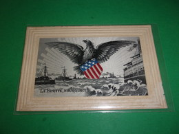 R/ SUPERBE TISSEE SUR SOIE WWI LA FAYETTE NOUS VOICI MARINE DE GUERRE US NAVY  EAGLE  AIGLE DRAPEAU US - War 1914-18