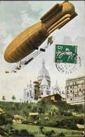"""CPA. - Le Dirigeable """" VILLE De PARIS """" Au Dessus De Montmartre Daté 1909 - TBE - Dirigibili"""