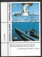 """1991 Marshall Islands Mi. 379-80 **MNH Geschichte Des Zweiten Weltkrieges :  Die Versenkung Der """"Reuben James - Marshall"""