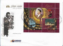 ARGENTINA 1999, OPERA, ENRICO CARUSO, FIRST DAY COVER  MINISHEET MUSIC THEATER - FDC