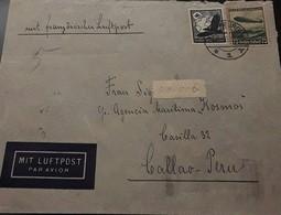 O) 1934 CIRCA - GERMANY, SWASTIKA SUN- SCT C54, HINDENBURG -ZEPPELIN- SCTO C58, MIT LUFTPOST AIRMAIL, TO CALLAO . PERU - Germany