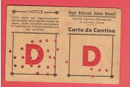 RNUR REGIE NATIONALE USINES RENAULT 1947 CARTE DE CANTINE DE MAYET JAQUELINE - Voitures