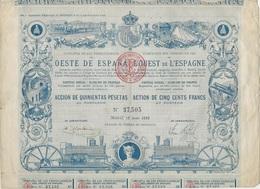 ACTION ILLUSTREE DE 500 FRS - CIE DES CHEMINS DE FER DE L'OUEST DE L'ESPAGNE - Cinéma & Theatre