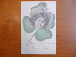 CPA - E. M. Kantner - Femme - Chapeau - Trèfle - Künstlerkarten
